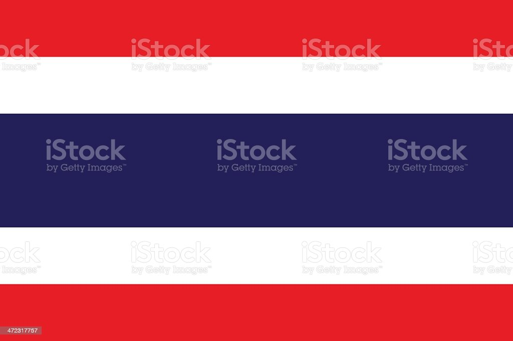 A close-up of the flag of Thailand vector art illustration
