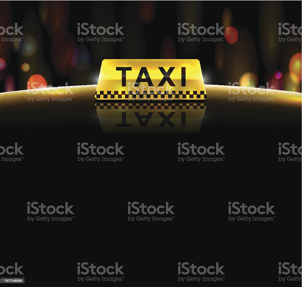 Close-up of the taxi light and sign over a night background vector art illustration