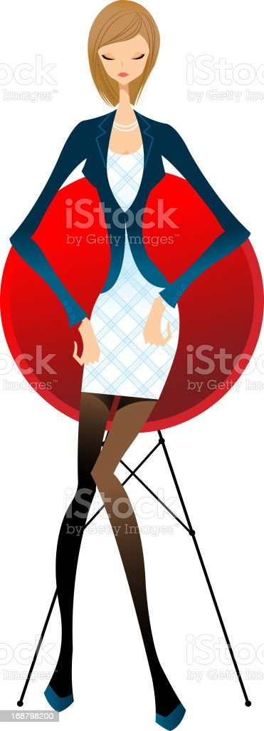 close-up of woman sitting royalty-free stock vector art