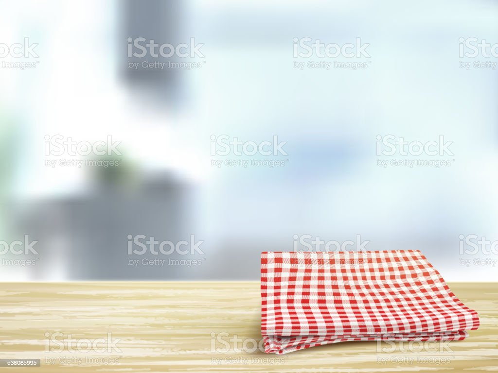 closeup of wooden desk and tablecloth in room vector art illustration