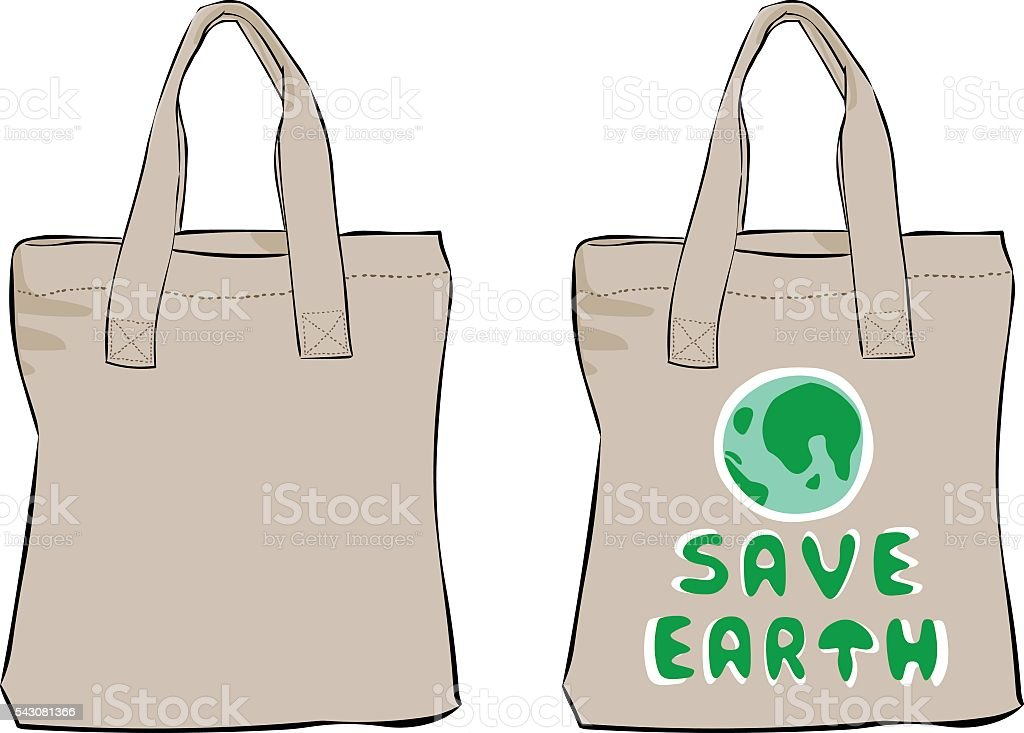 Cloth bag vector art illustration