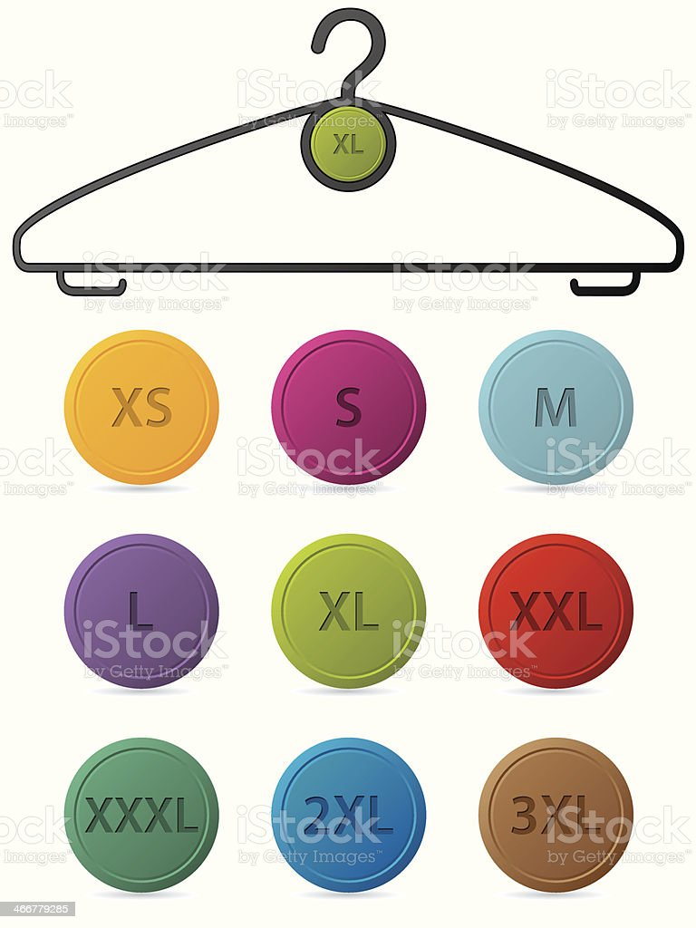 Cloth hanger with buttons showing sizes vector art illustration