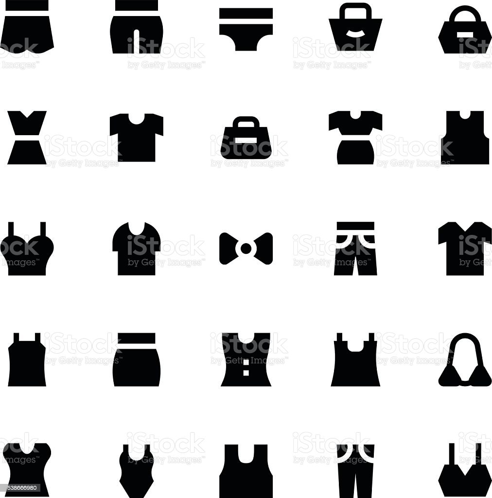 Clothes, Apparel and Garments Vector Icons 3 vector art illustration