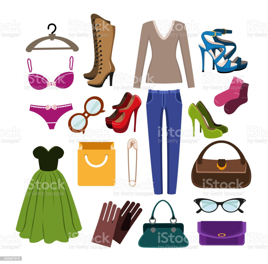 Clothes, footwear and accessories vector art illustration
