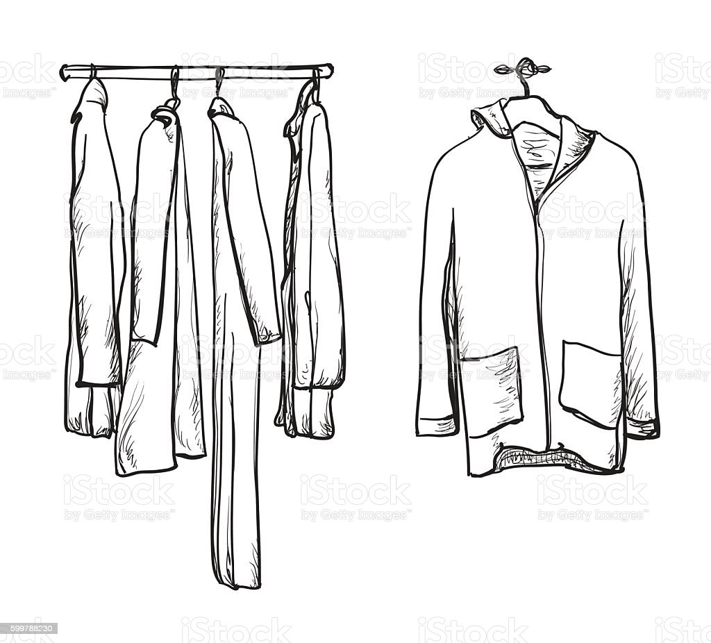 Clothes for autumn. Coat and jacket on the hangers vector art illustration