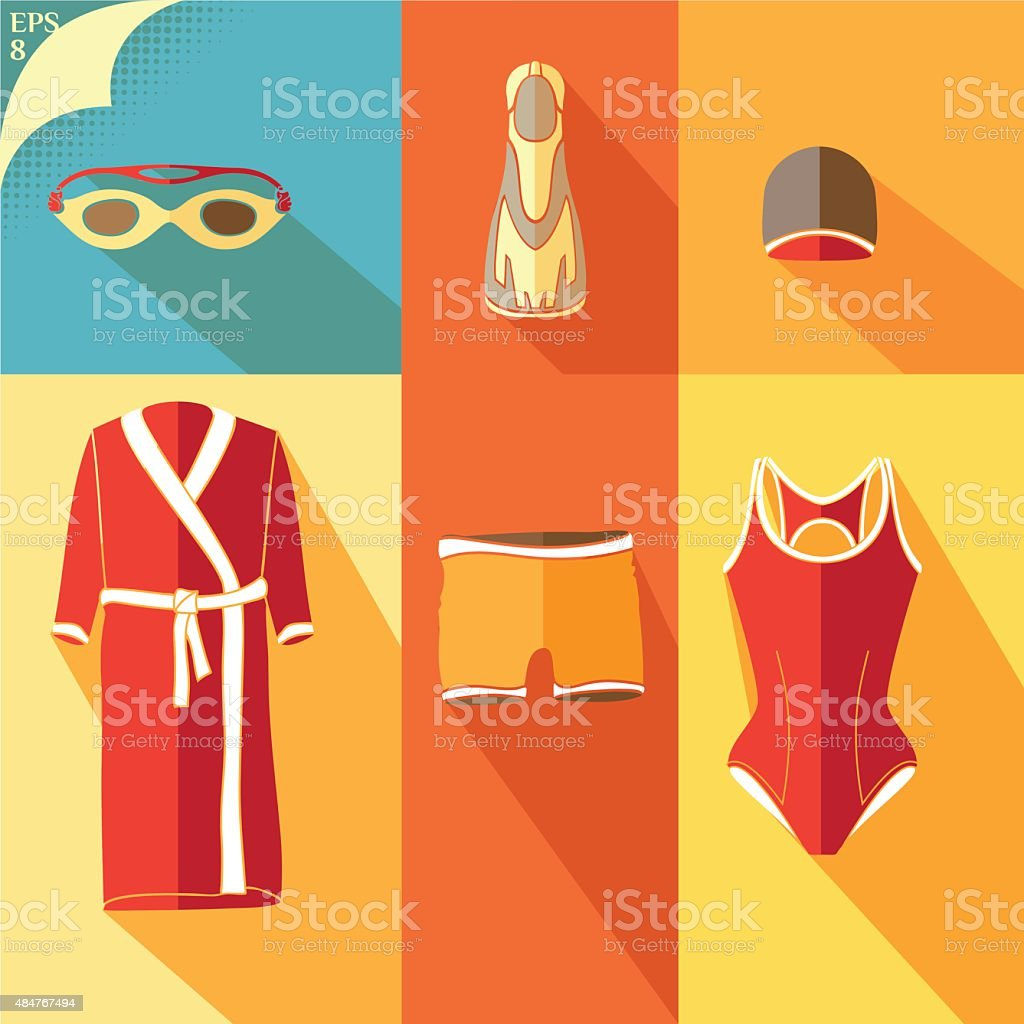Clothes for swimmers 1 vector art illustration