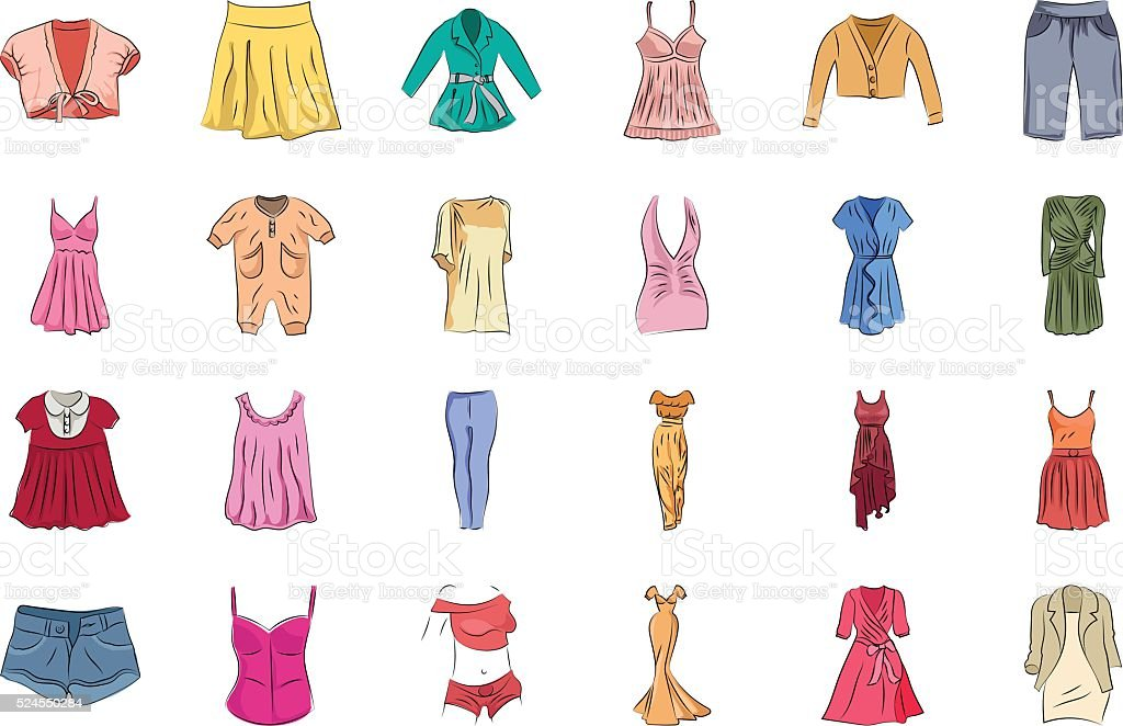 Clothes Hand Drawn Colored Vector Icons 1 vector art illustration
