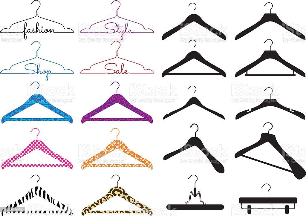 clothes hanger, vector set royalty-free stock vector art