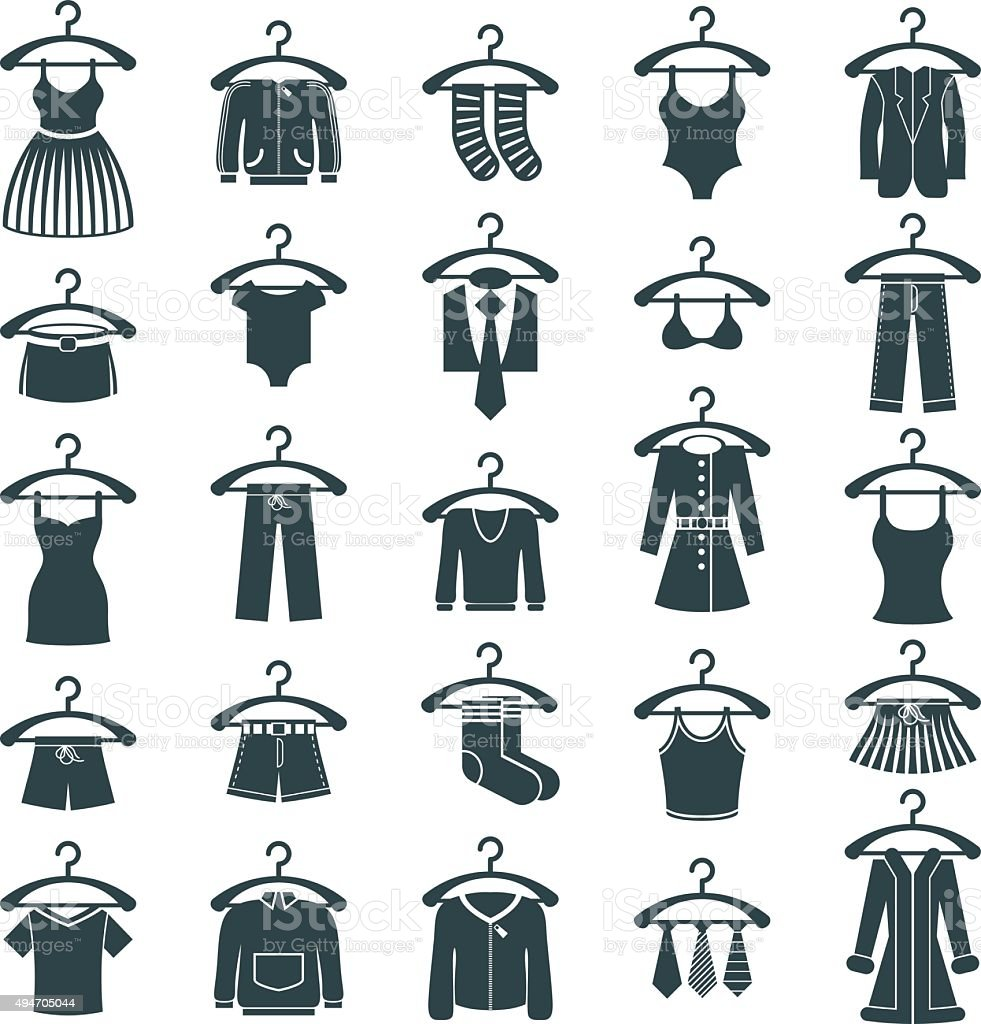 Clothes icon set, vector collection of fashion signs. vector art illustration