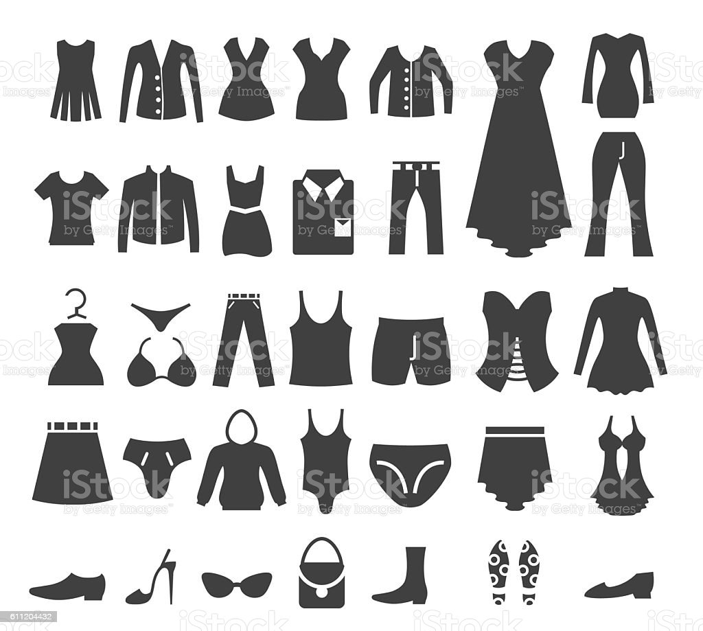Clothes icon set vector art illustration
