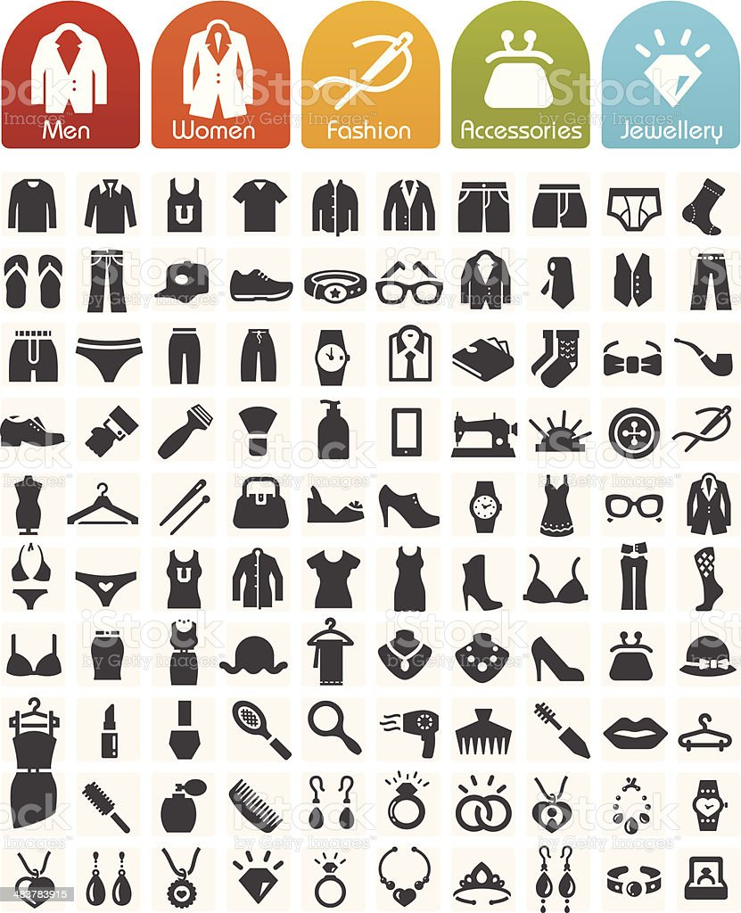 Clothes Icons Bulk Series - 100 Icons vector art illustration