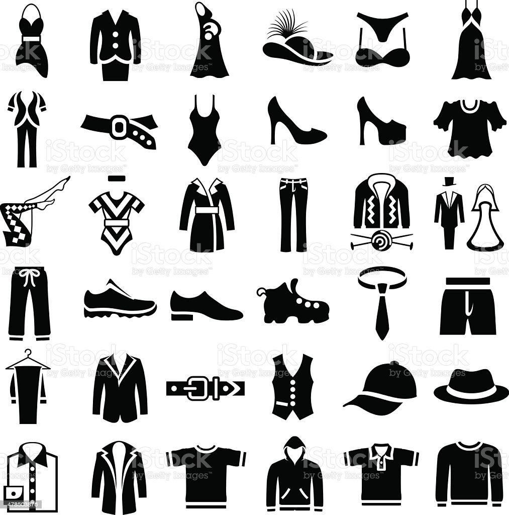 Clothes Icons vector art illustration