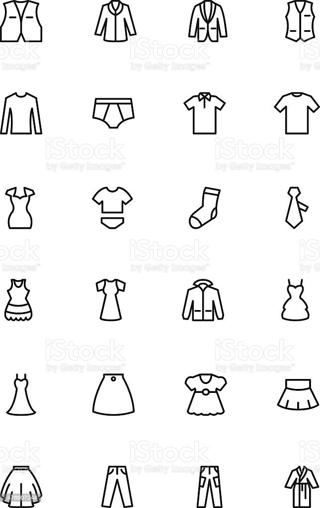 Clothes Line Vector Icons 2 vector art illustration