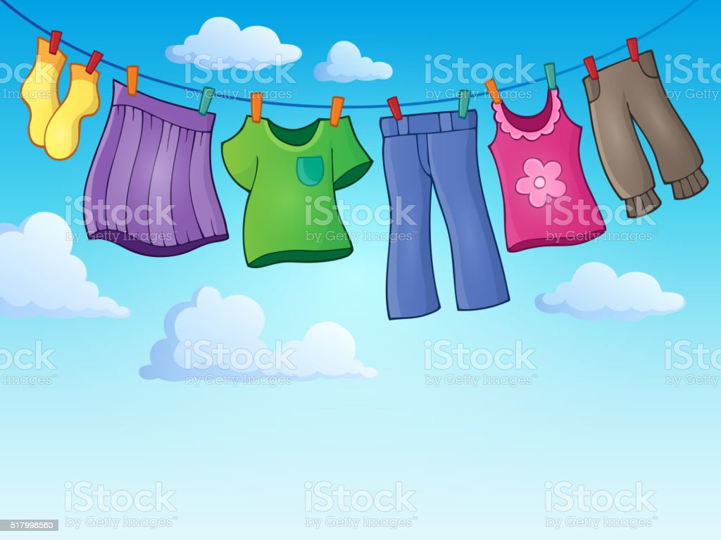 Clothes on clothing line theme image 2 vector art illustration