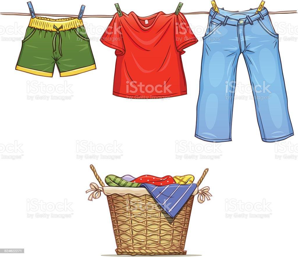 Ubrania na skakance i kosz z zużycie stockowa ilustracja wektorowa royalty-free