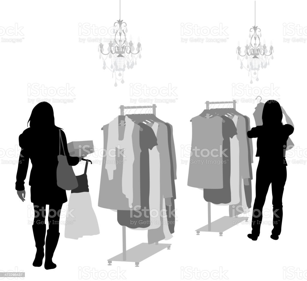 Clothes On Sale Vector Silhouette royalty-free stock vector art