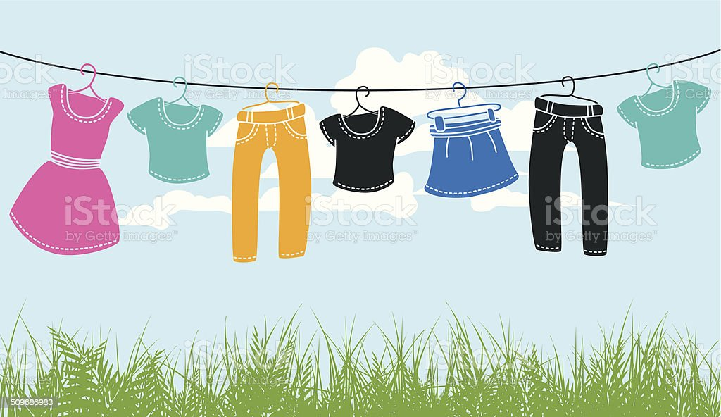 clothes on washing line vector art illustration