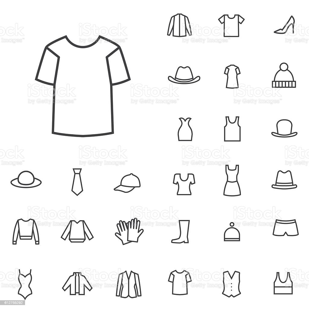 clothes outline, thin, flat, digital icon set vector art illustration