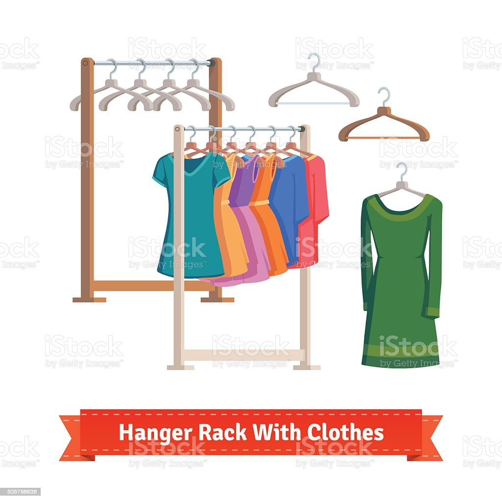 Clothes rack with dresses on hangers vector art illustration