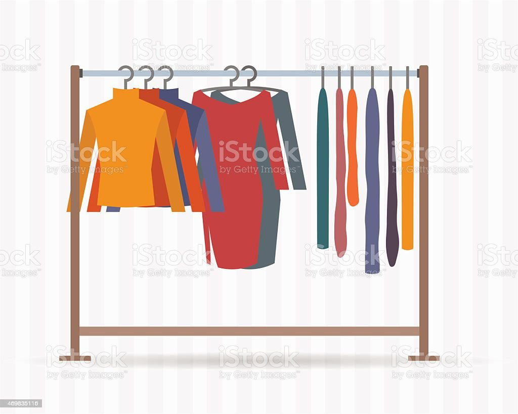 Clothes racks vector art illustration