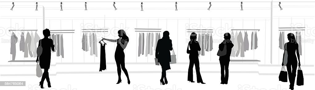 Clothes Shopping Mall vector art illustration