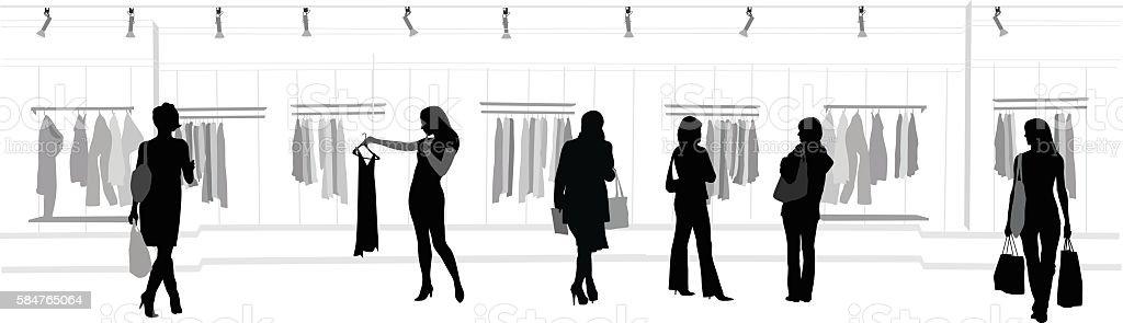 Clothes Shopping Mall vector art illustration