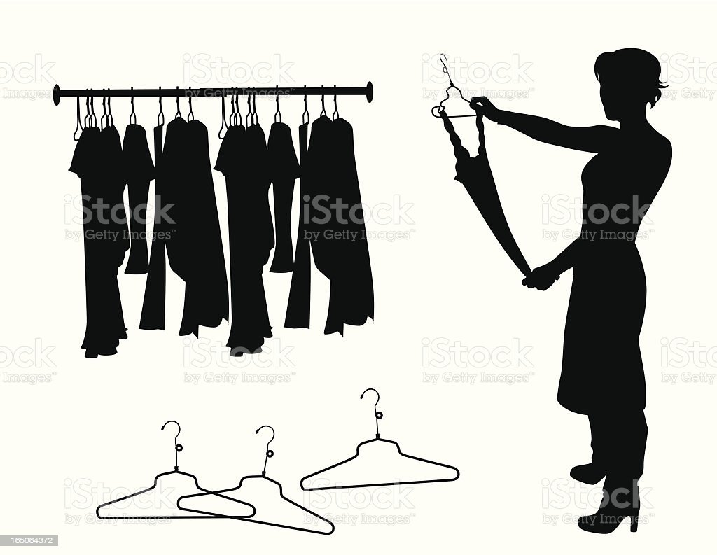 Clothes Shopping Vector Silhouette vector art illustration