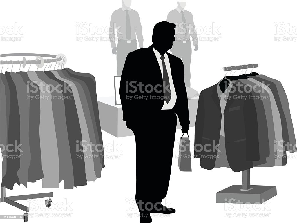 XXL Clothes Shopping Vector Silhouette vector art illustration