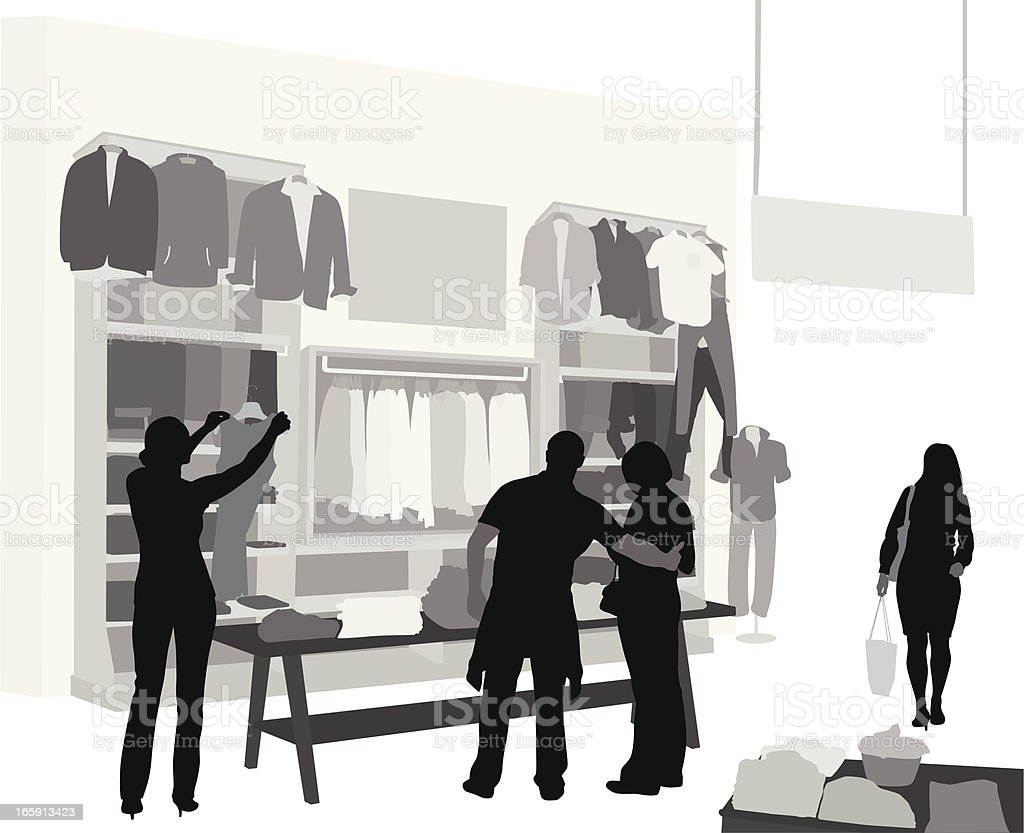 Clothes Store Vector Silhouette vector art illustration