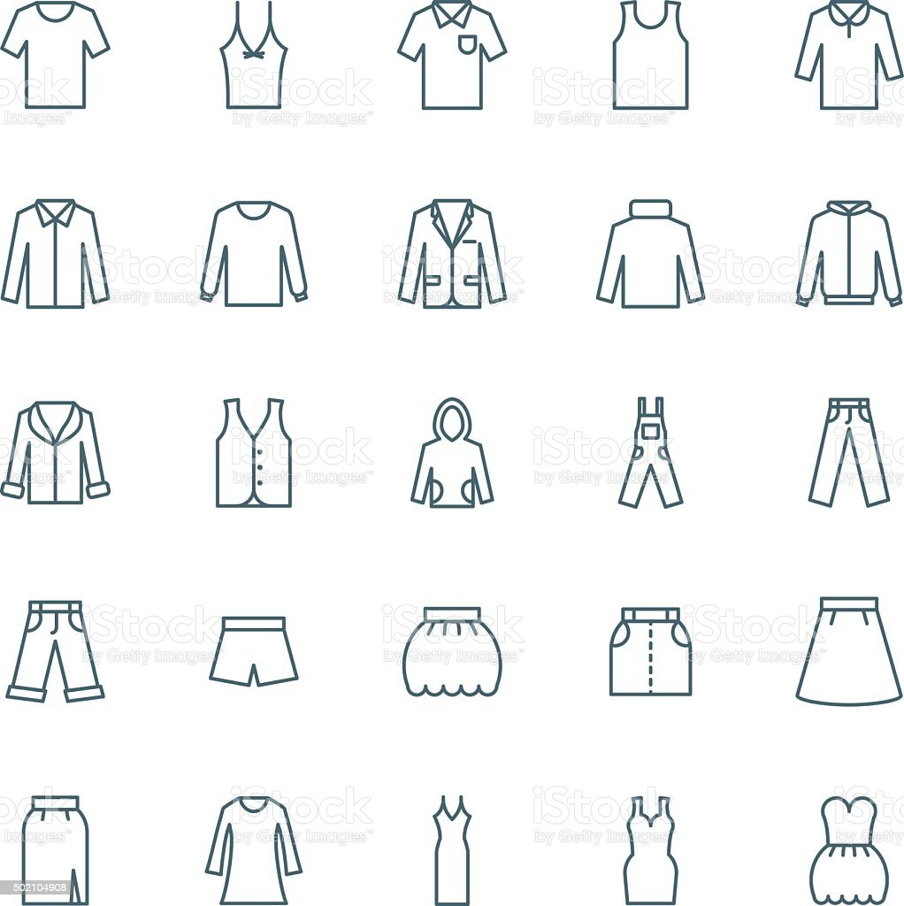 Clothes vector icons set vector art illustration