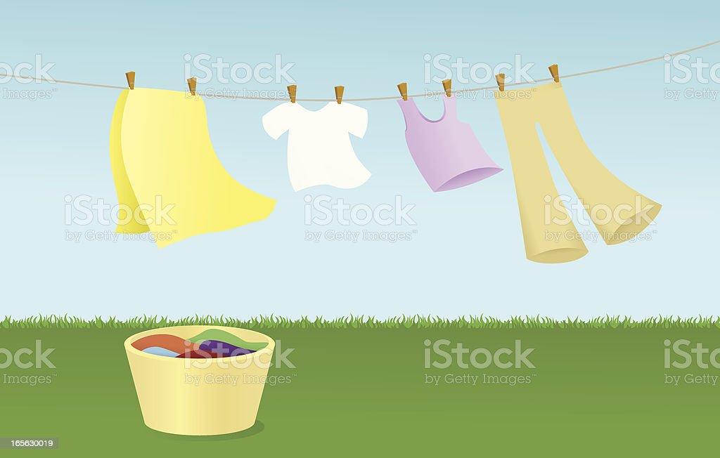 Clothesline vector art illustration