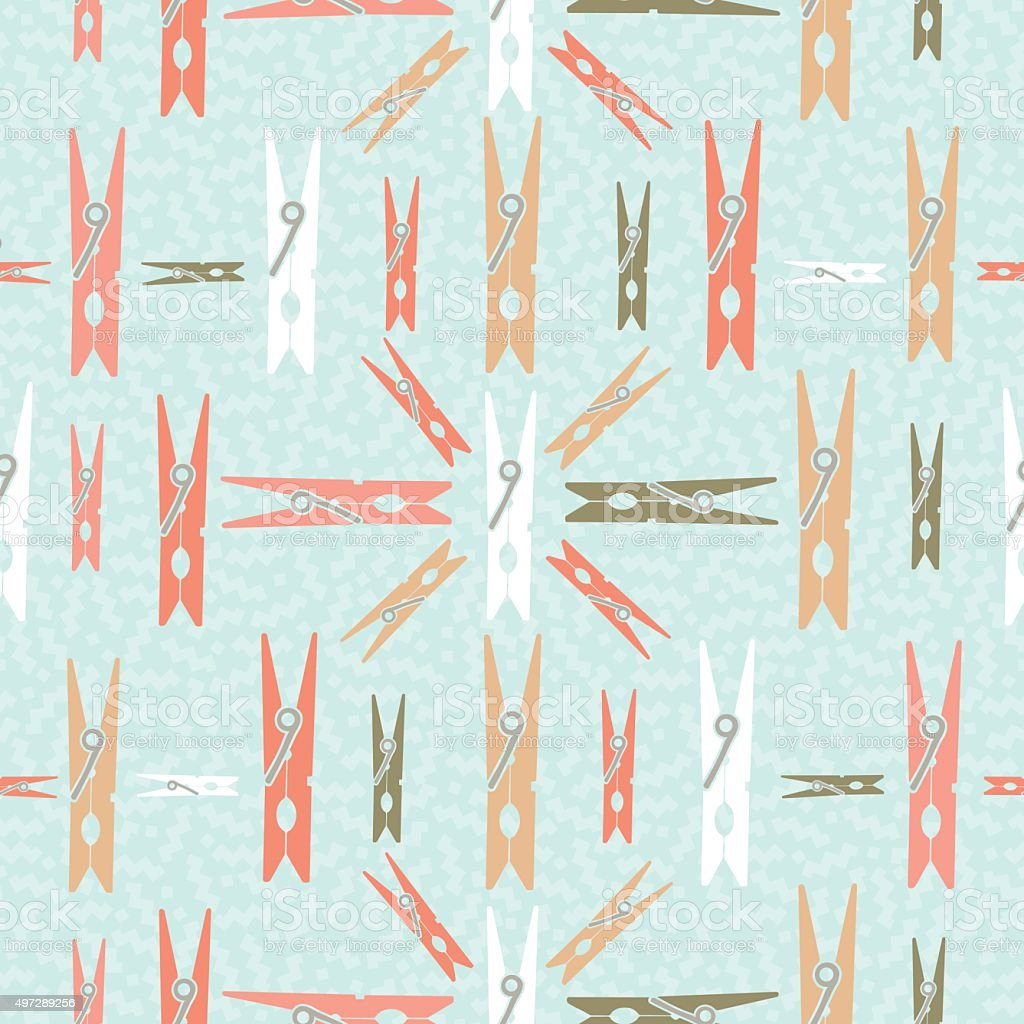 Clothespin retro seamless pattern shape background vector art illustration