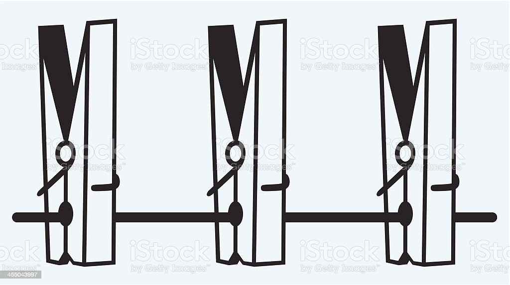 Clothespins on rope vector art illustration