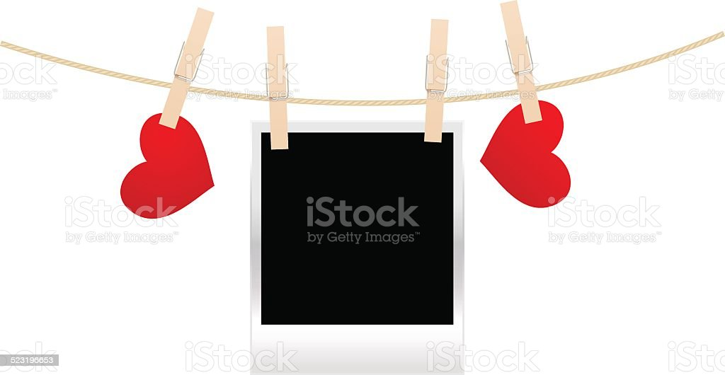 clothespins with photos and  hearts vector art illustration