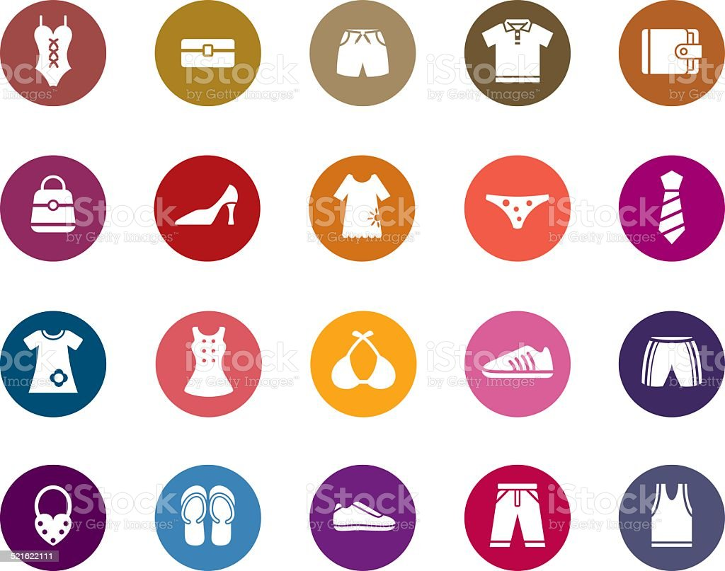 Clothing and Accessories Color Icons vector art illustration