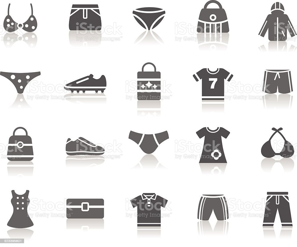 Clothing and Accessories Icons vector art illustration
