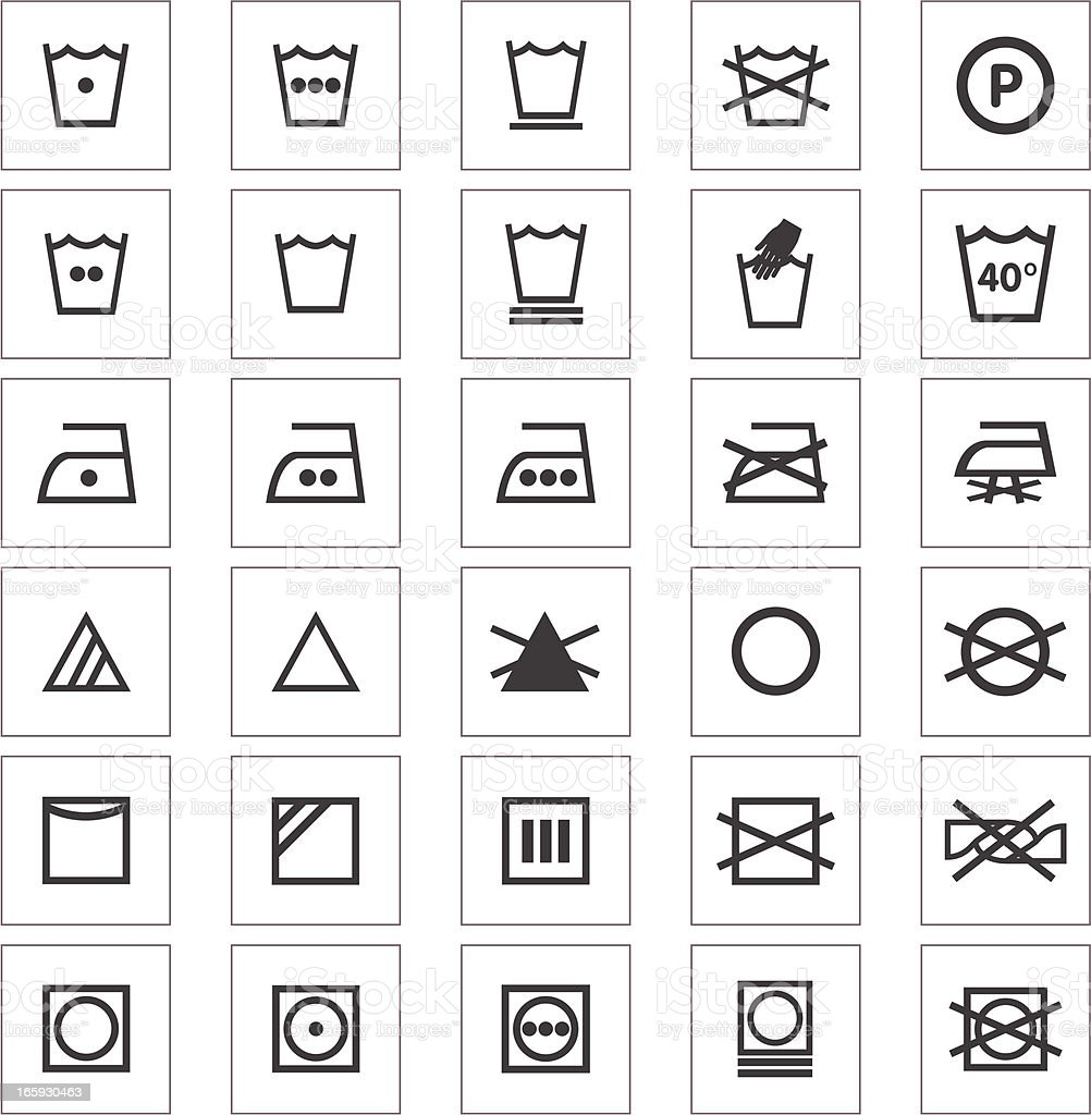 Clothing Care Fabric Icons vector art illustration