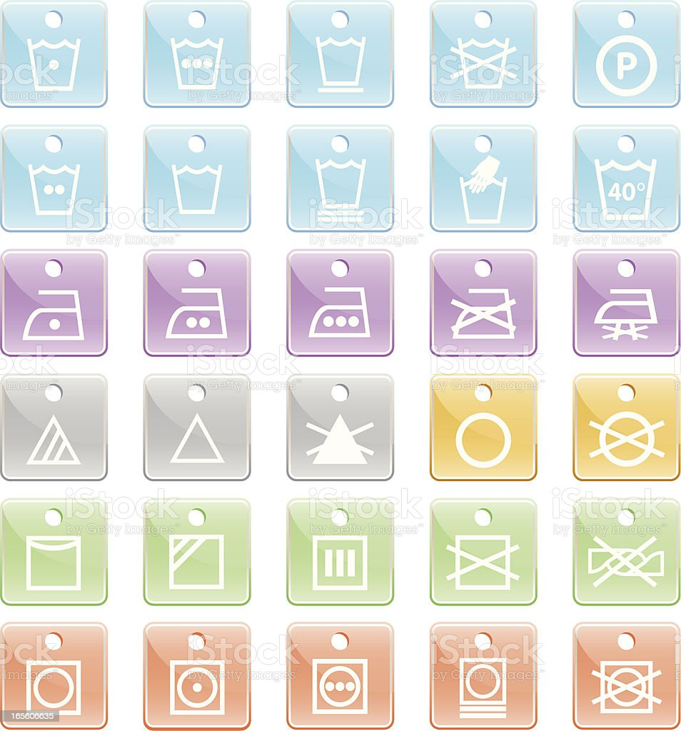 Clothing Care Fabric Symbols royalty-free stock vector art