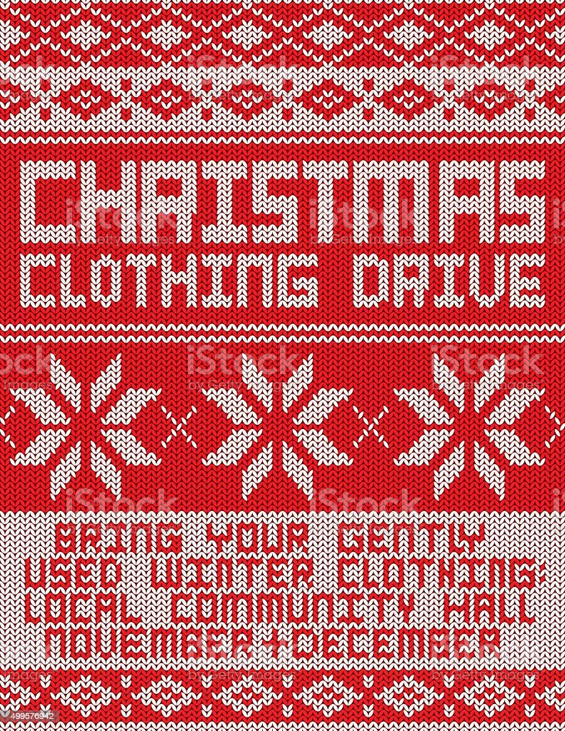 Clothing Drive Knitted Sweater Pattern Poster vector art illustration
