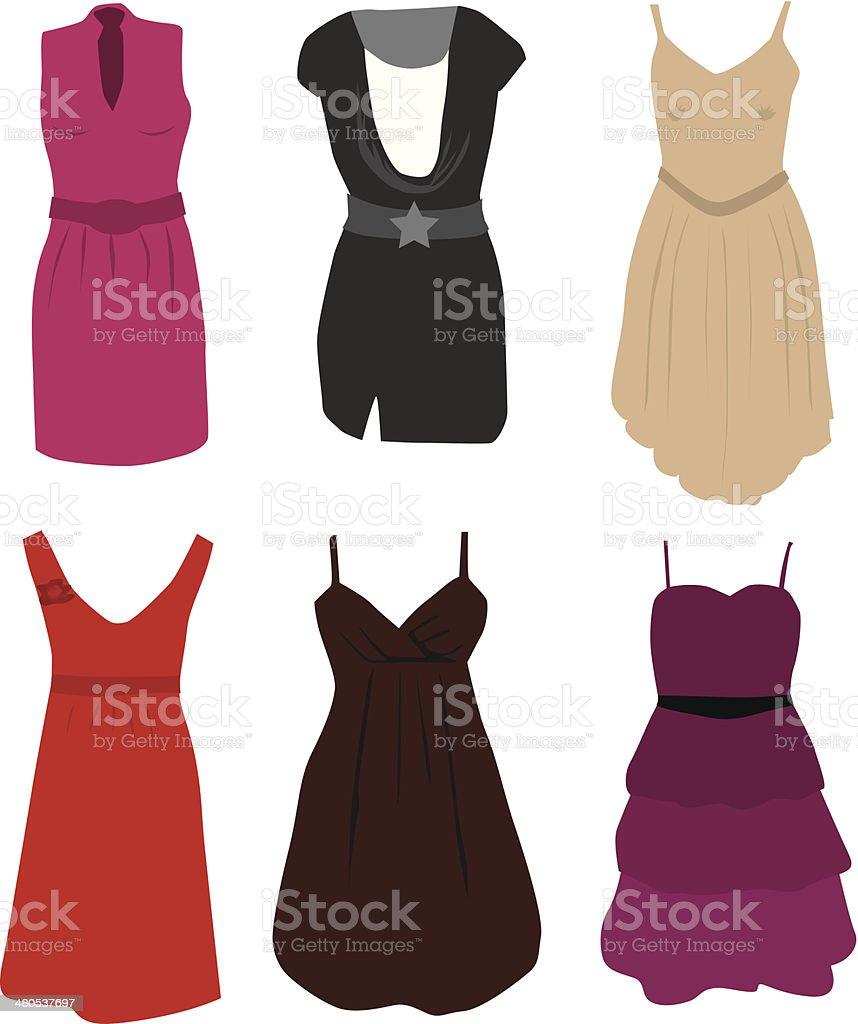 Clothing - elegant dresses royalty-free stock vector art
