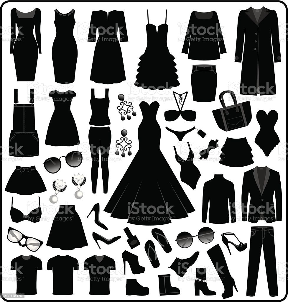 Clothing- Fashion Silhouette vector art illustration