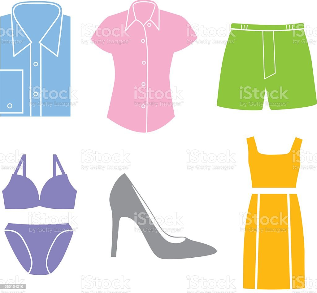 Clothing Icons vector art illustration
