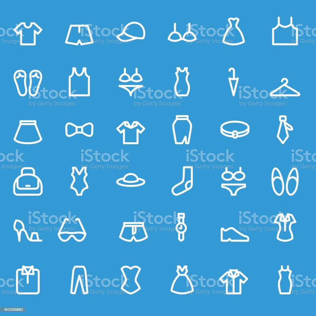 Clothing icons. vector art illustration