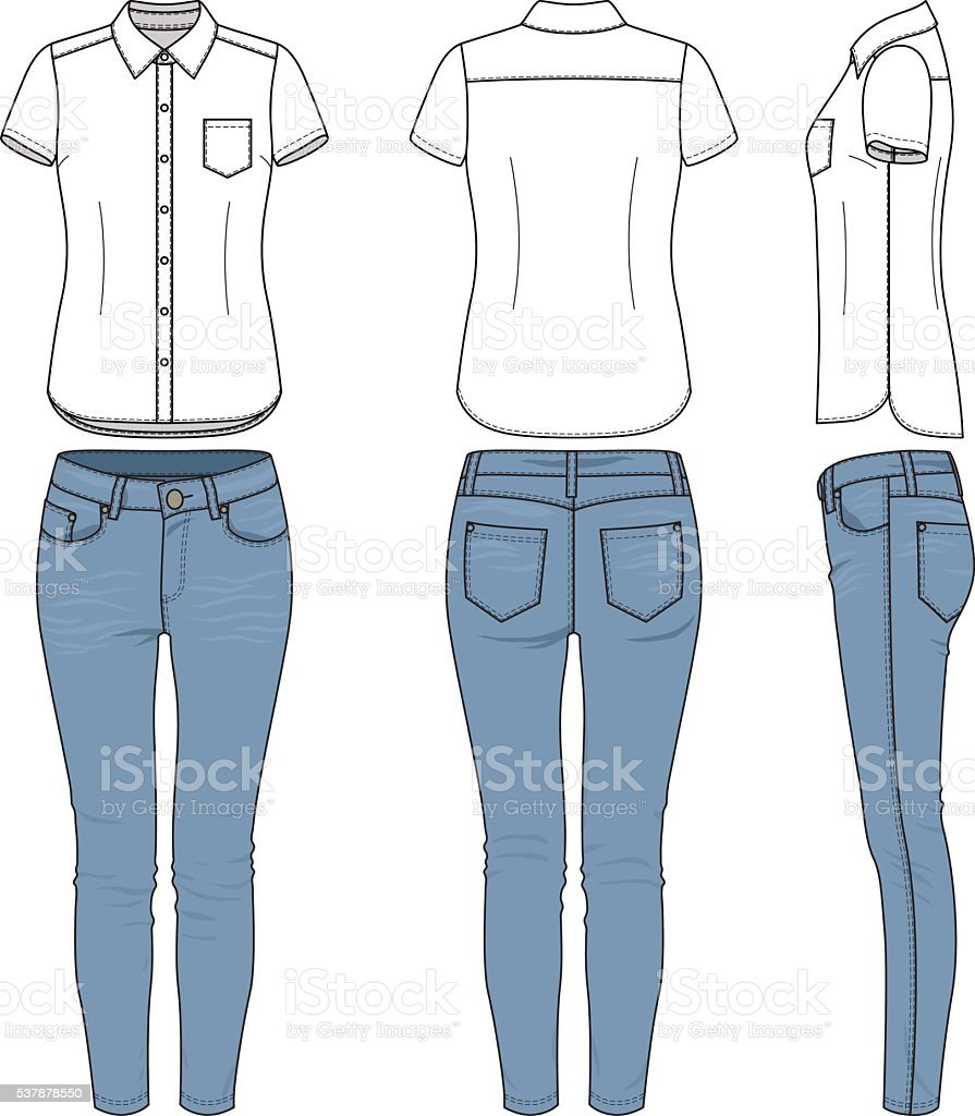 Clothing set. Shirt, jeans. vector art illustration