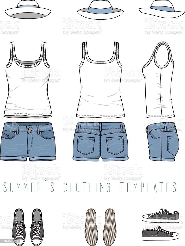 Clothing set. Shirt, shorts, hat, sneakers. vector art illustration