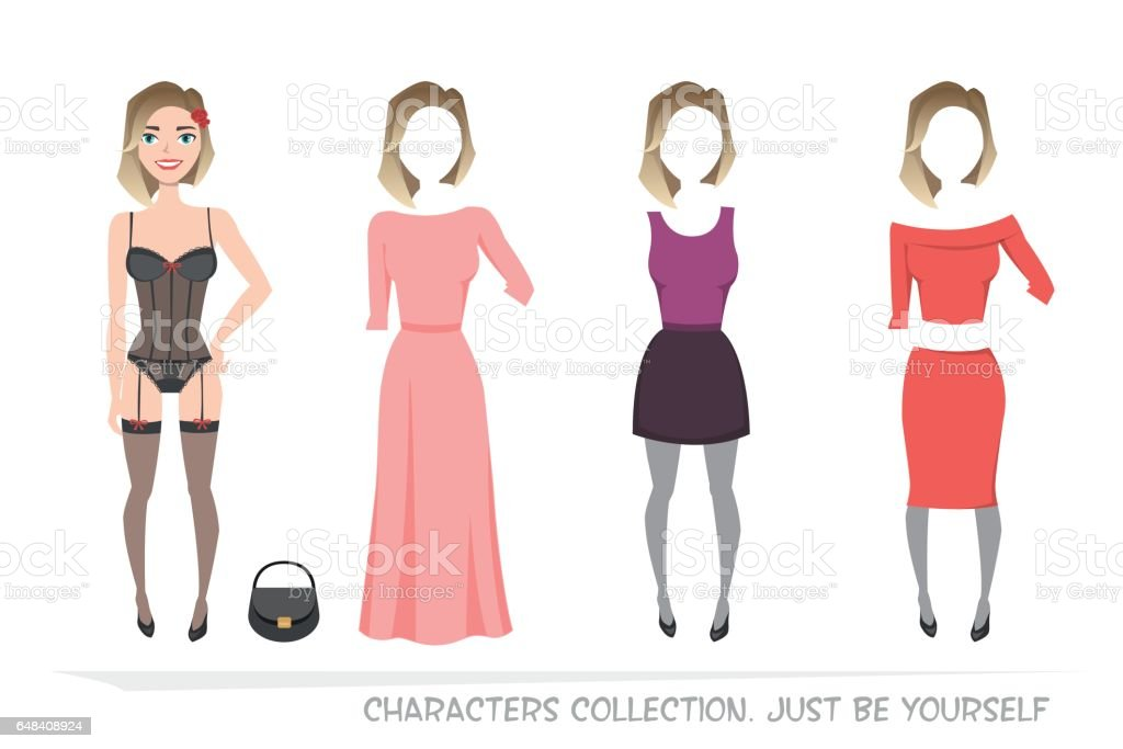 Clothing sets for female. Constructor character. vector art illustration