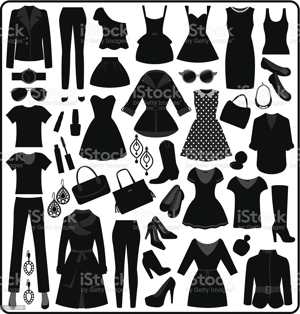 Clothing Silhouette, Black and White vector art illustration