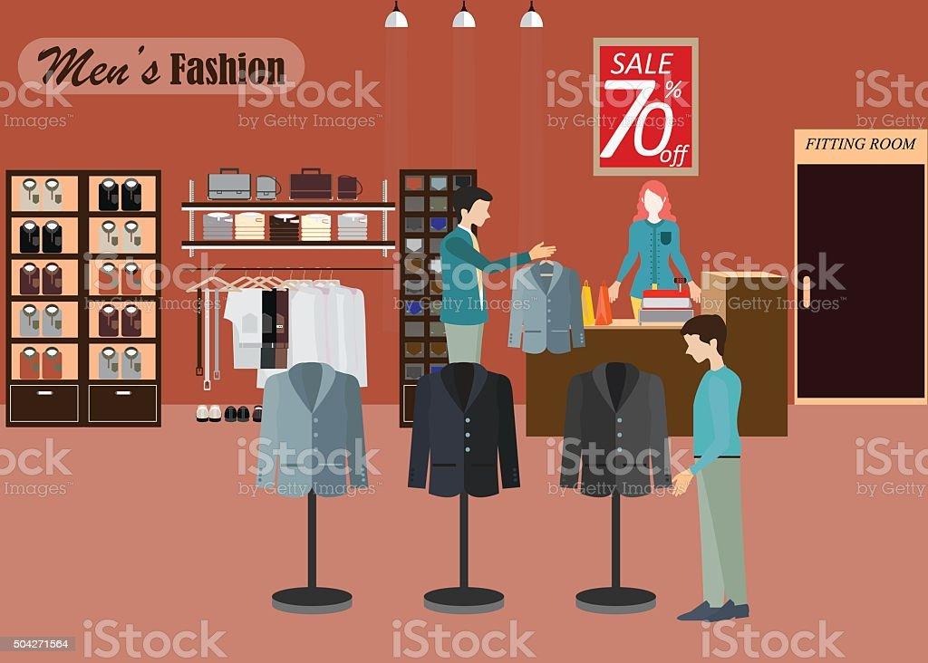 Clothing store for men2. vector art illustration