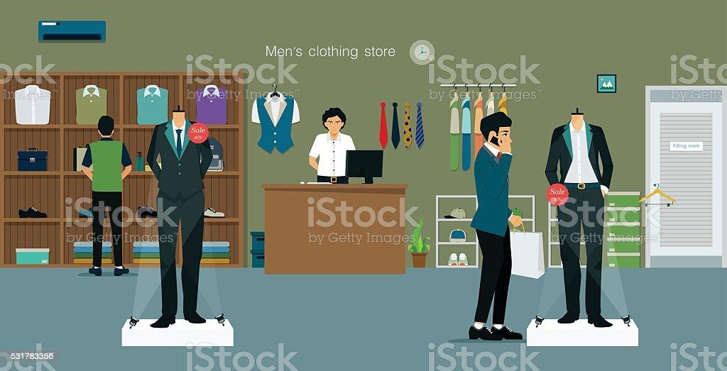 Clothing store man vector art illustration
