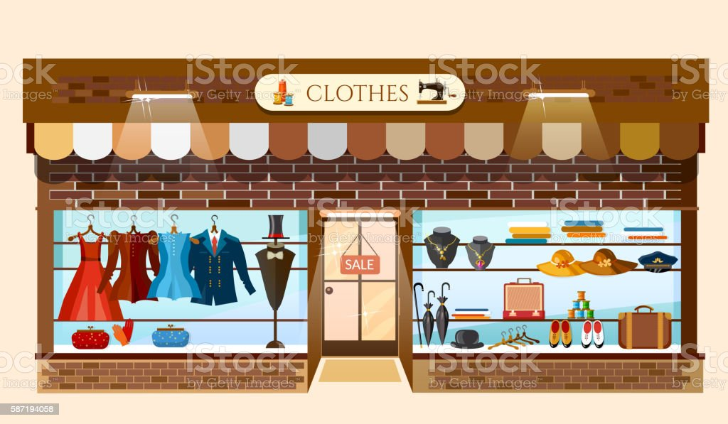 Clothing store showcases fashion shop interior vector art illustration